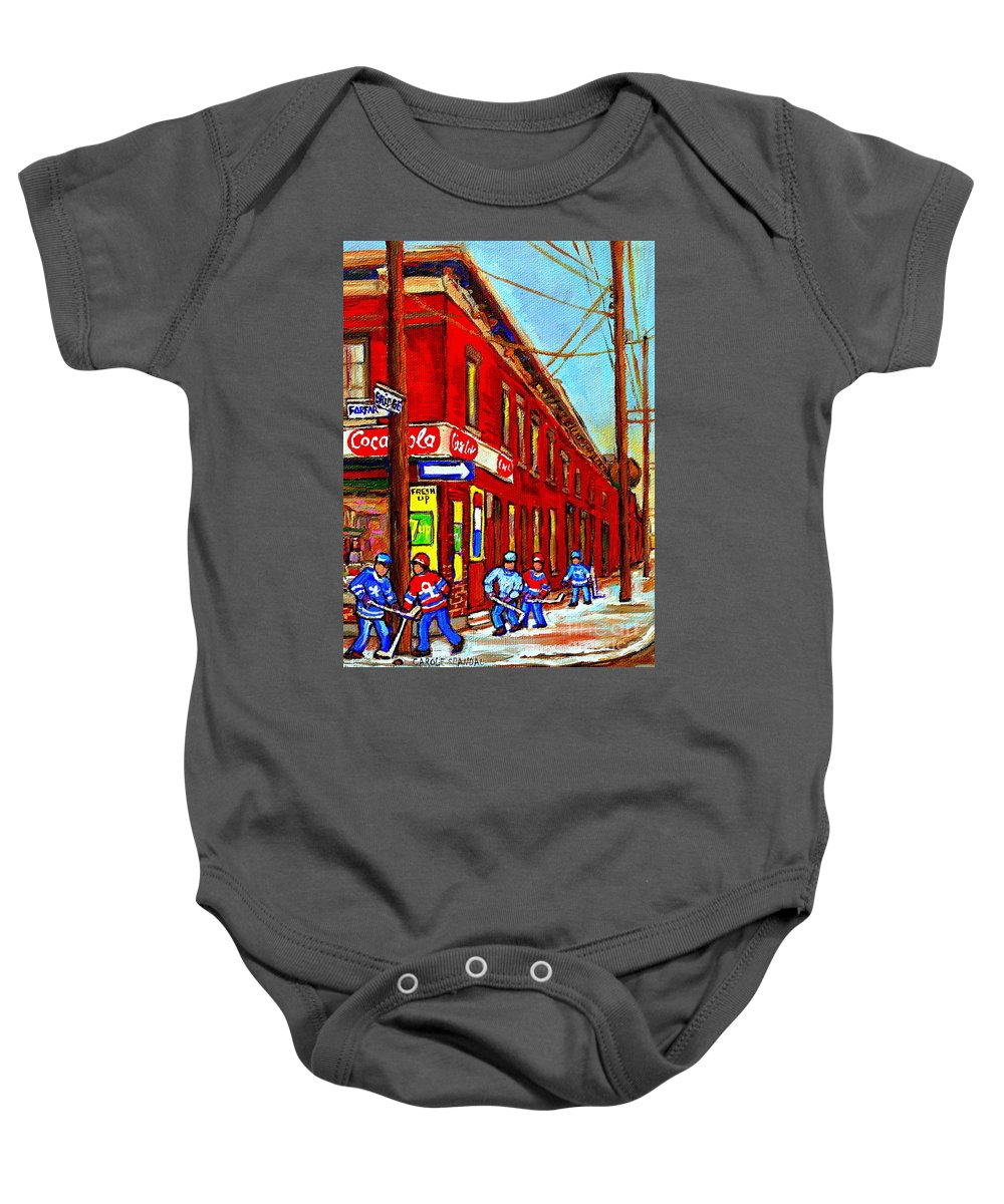 Piche's Corner Grocery Store Baby Onesie featuring the painting When We Were Young - Hockey Game At Piche's - Montreal Memories Of Goosevillage by Carole Spandau