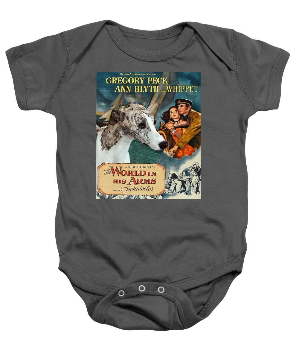 Dog Baby Onesie featuring the painting Whippet Art - The World In His Arms Movie Poster by Sandra Sij