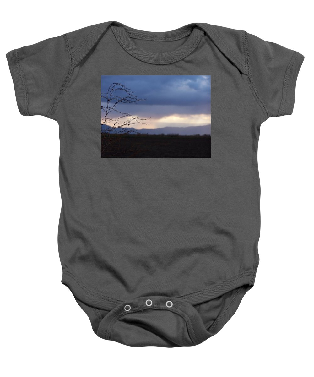 Whispy Farm Weed Baby Onesie featuring the photograph Whispy Farm Weed by Jennifer Allen
