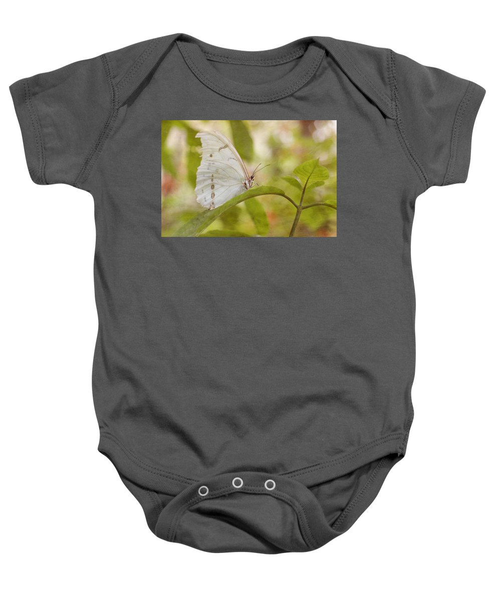 Butterfly Baby Onesie featuring the photograph White Beauty by Kim Hojnacki