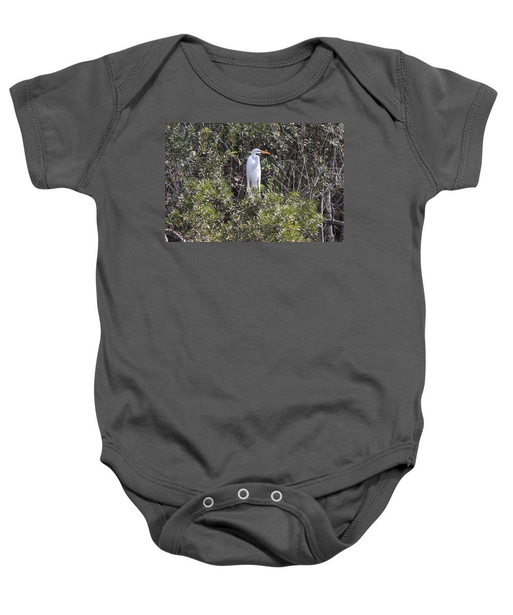 Egret Baby Onesie featuring the photograph White Egret In The Swamp by Christiane Schulze Art And Photography