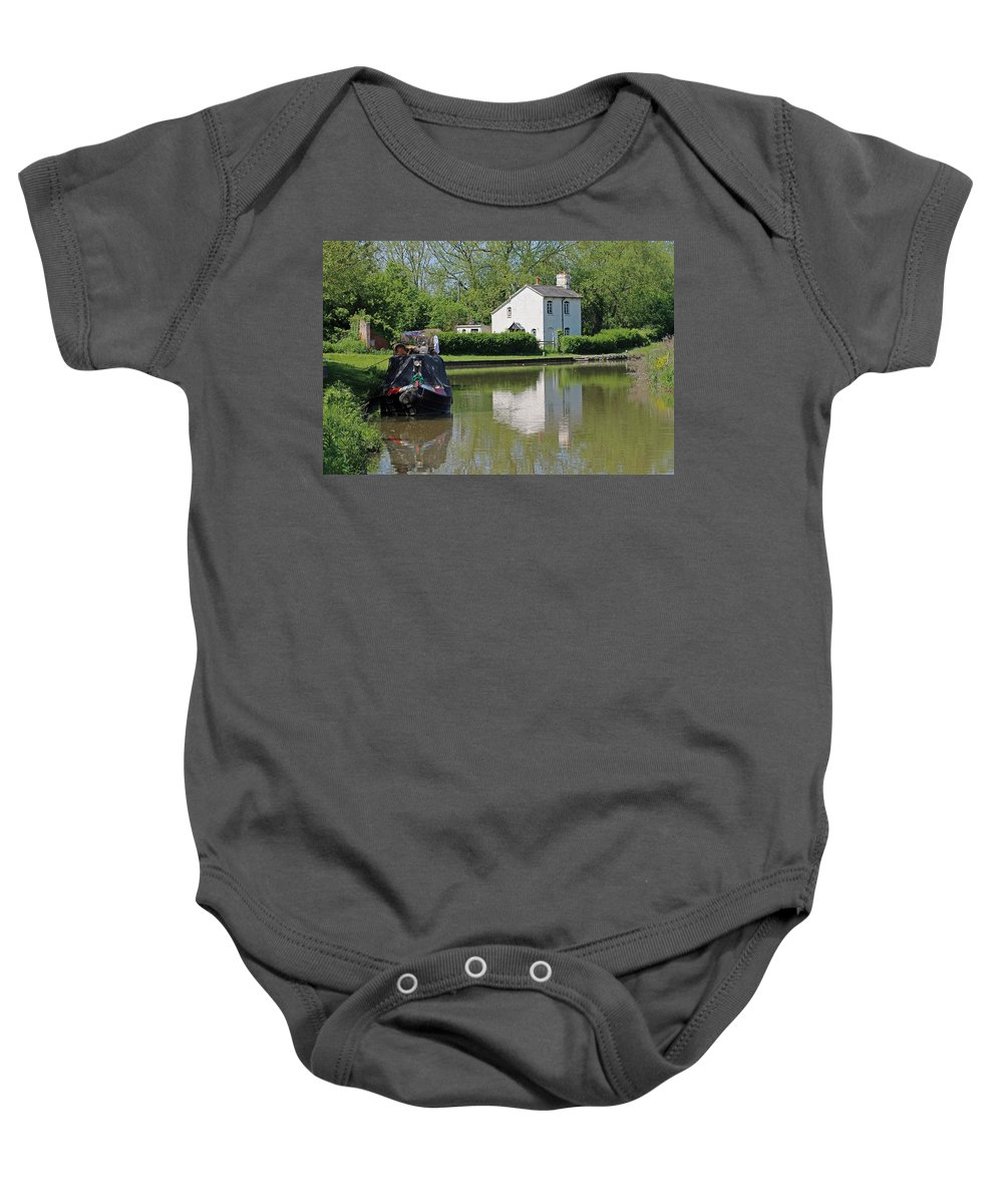 Oxford Canal Baby Onesie featuring the photograph White House And House Boat by Tony Murtagh