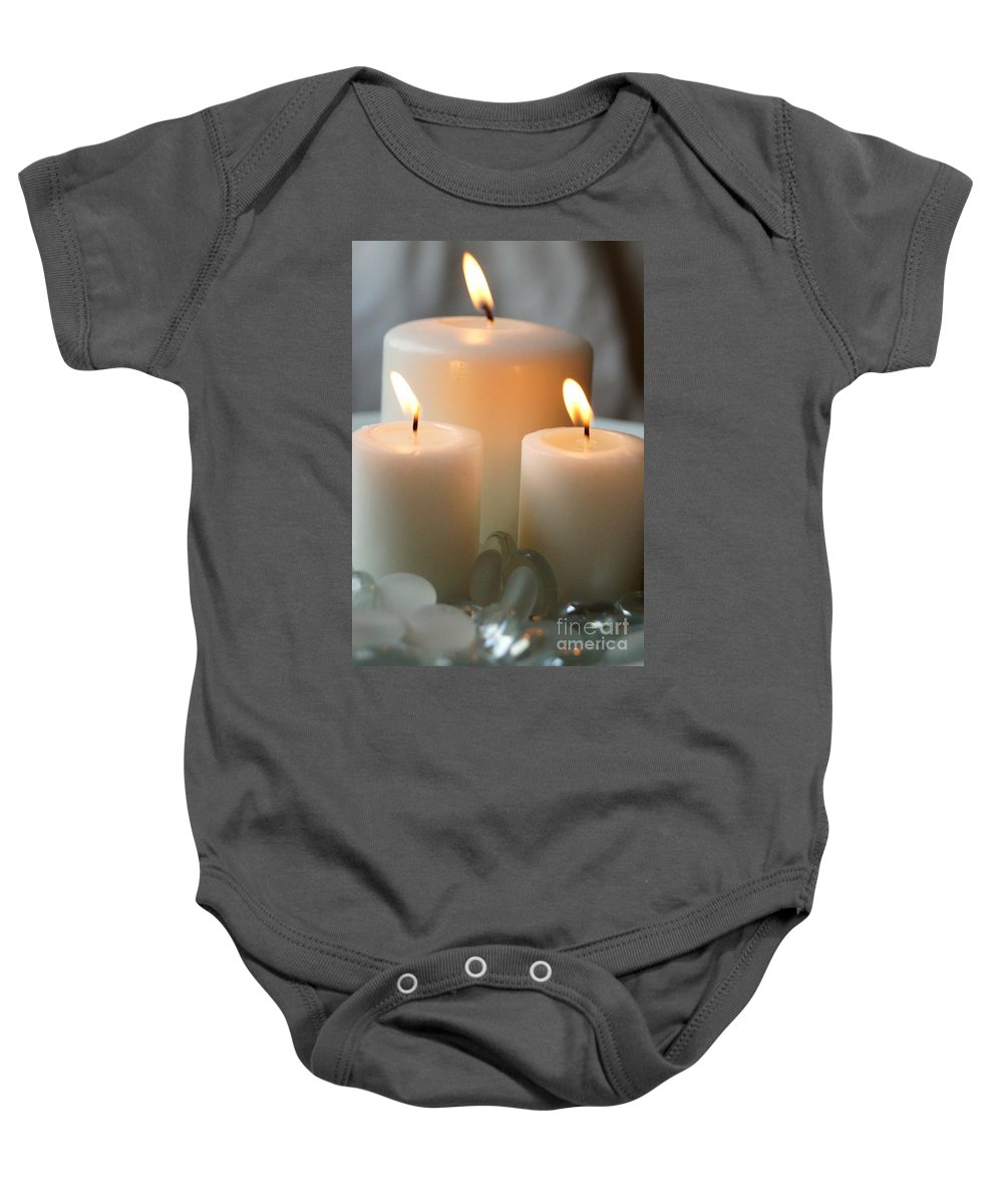 Candle Baby Onesie featuring the photograph White On White by Kerri Mortenson