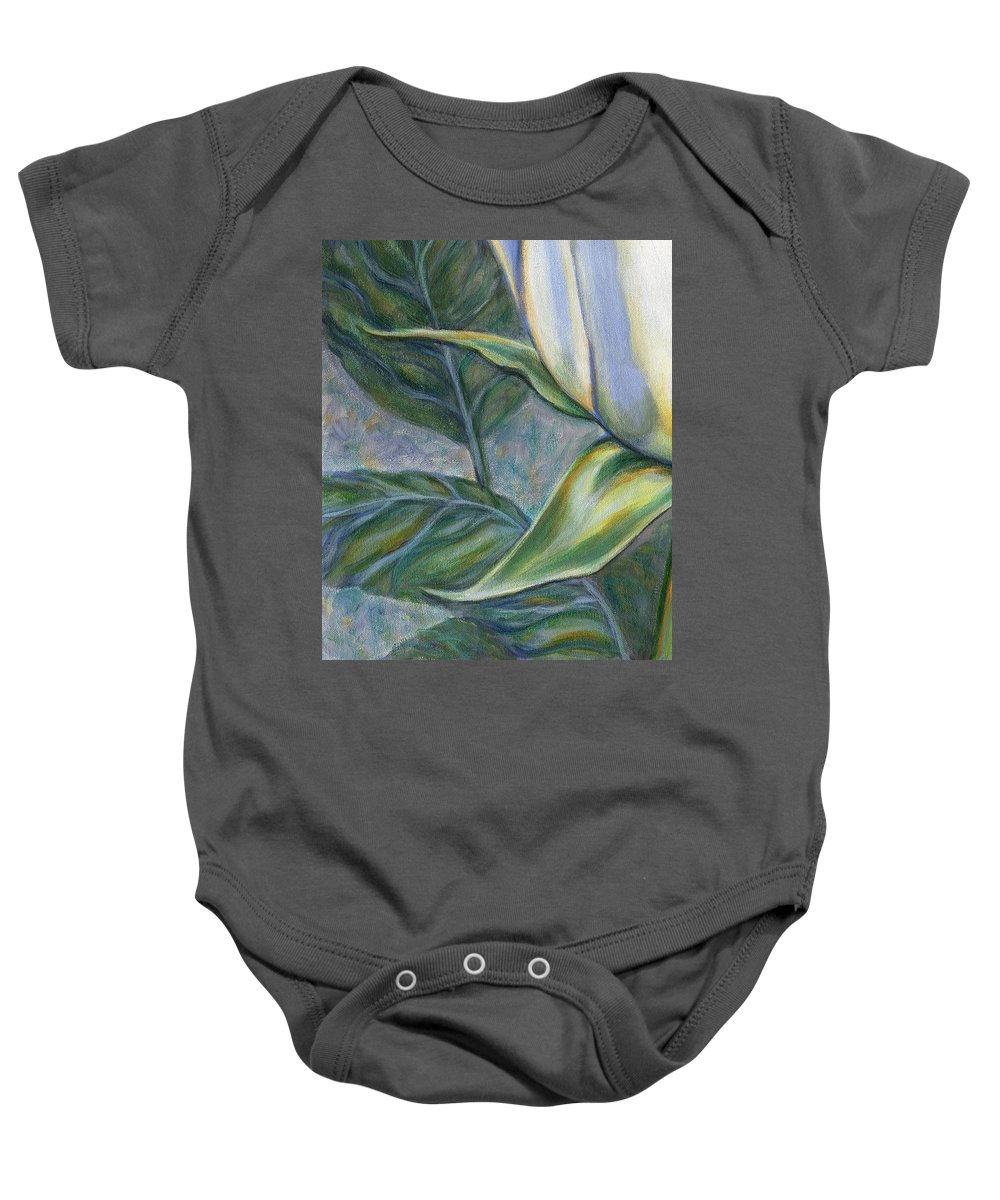 White Rose Baby Onesie featuring the painting White Rose One Panel Three Of Four by Linda Mears