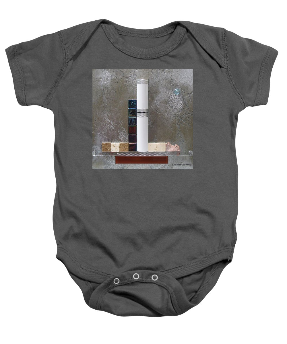Assemblage Baby Onesie featuring the relief White Tower by Elaine Booth-Kallweit
