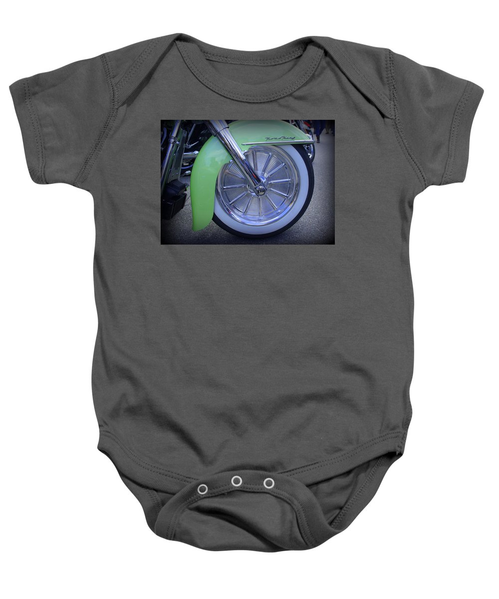 Harley Davidson Baby Onesie featuring the photograph White Wall by Laurie Perry