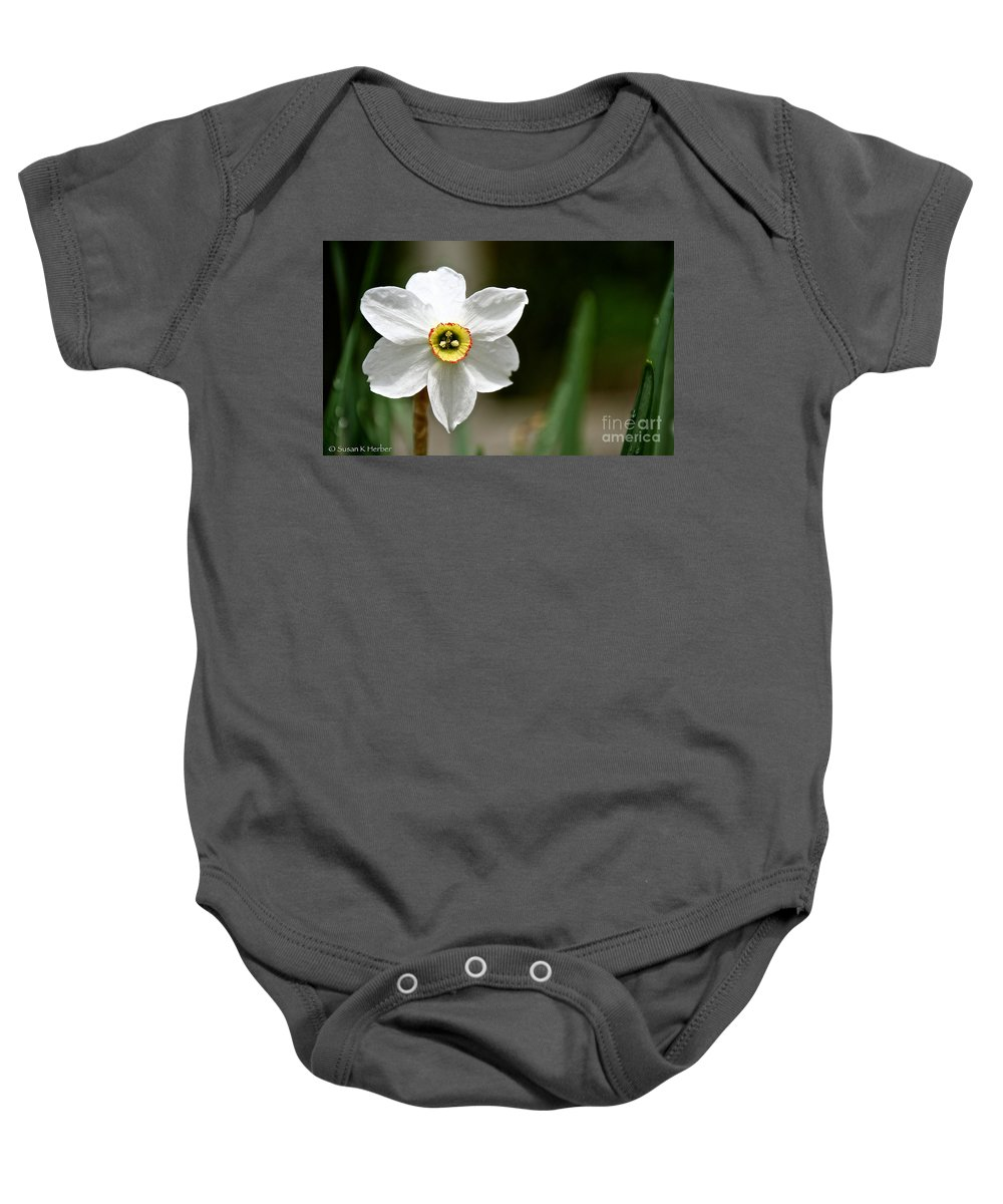 Flower Baby Onesie featuring the photograph White Wind Bravery by Susan Herber