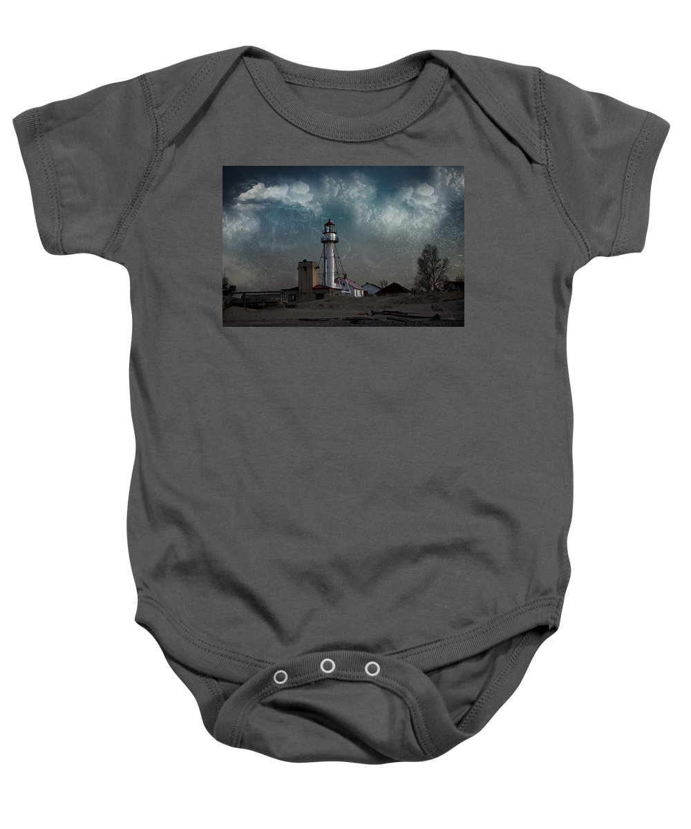 Evie Baby Onesie featuring the photograph Whitefish Point Lighthouse Lake Superior by Evie Carrier