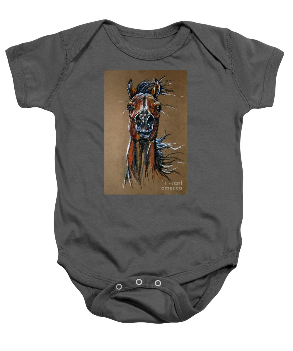 Horse Baby Onesie featuring the drawing Wild At Heart by Angel Ciesniarska