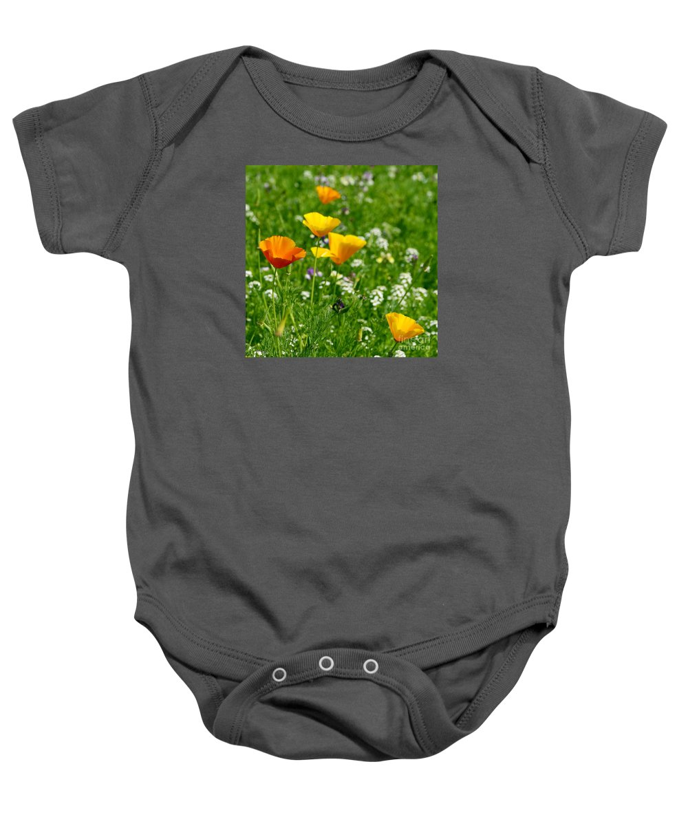 Wild Baby Onesie featuring the photograph Poppies 3 - Wild At Heart by Wendy Wilton
