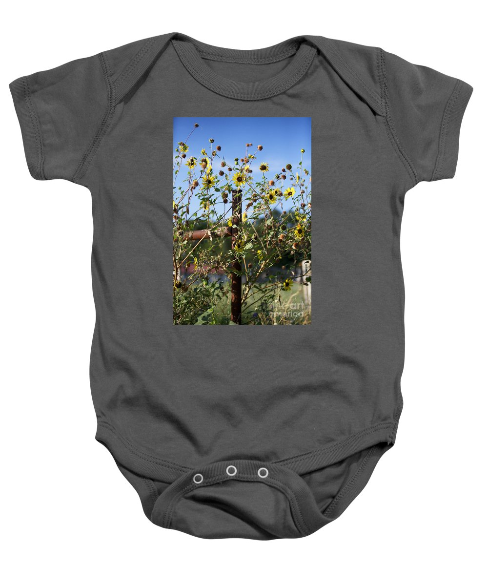Yellow Flowers Baby Onesie featuring the photograph Wild Growth by Erika Weber