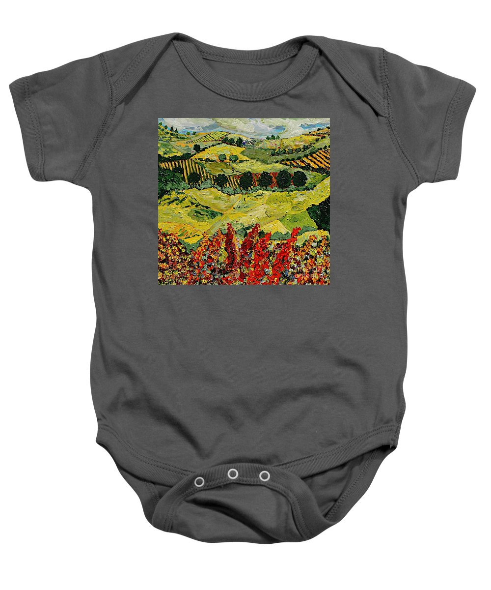 Landscape Baby Onesie featuring the painting Wildflower Jungle by Allan P Friedlander