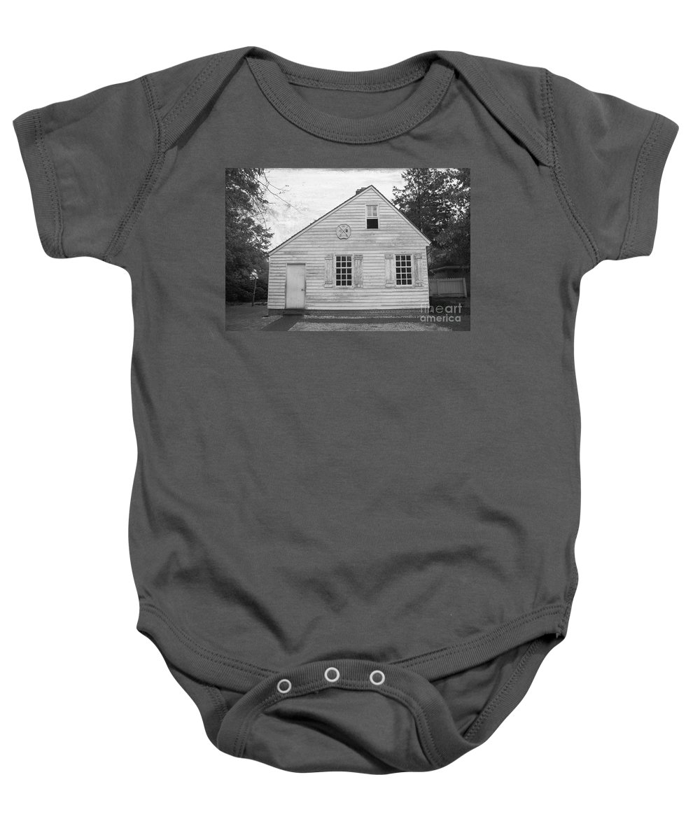 Williamsburg Baby Onesie featuring the photograph Williamsburg Foundry by Teresa Mucha