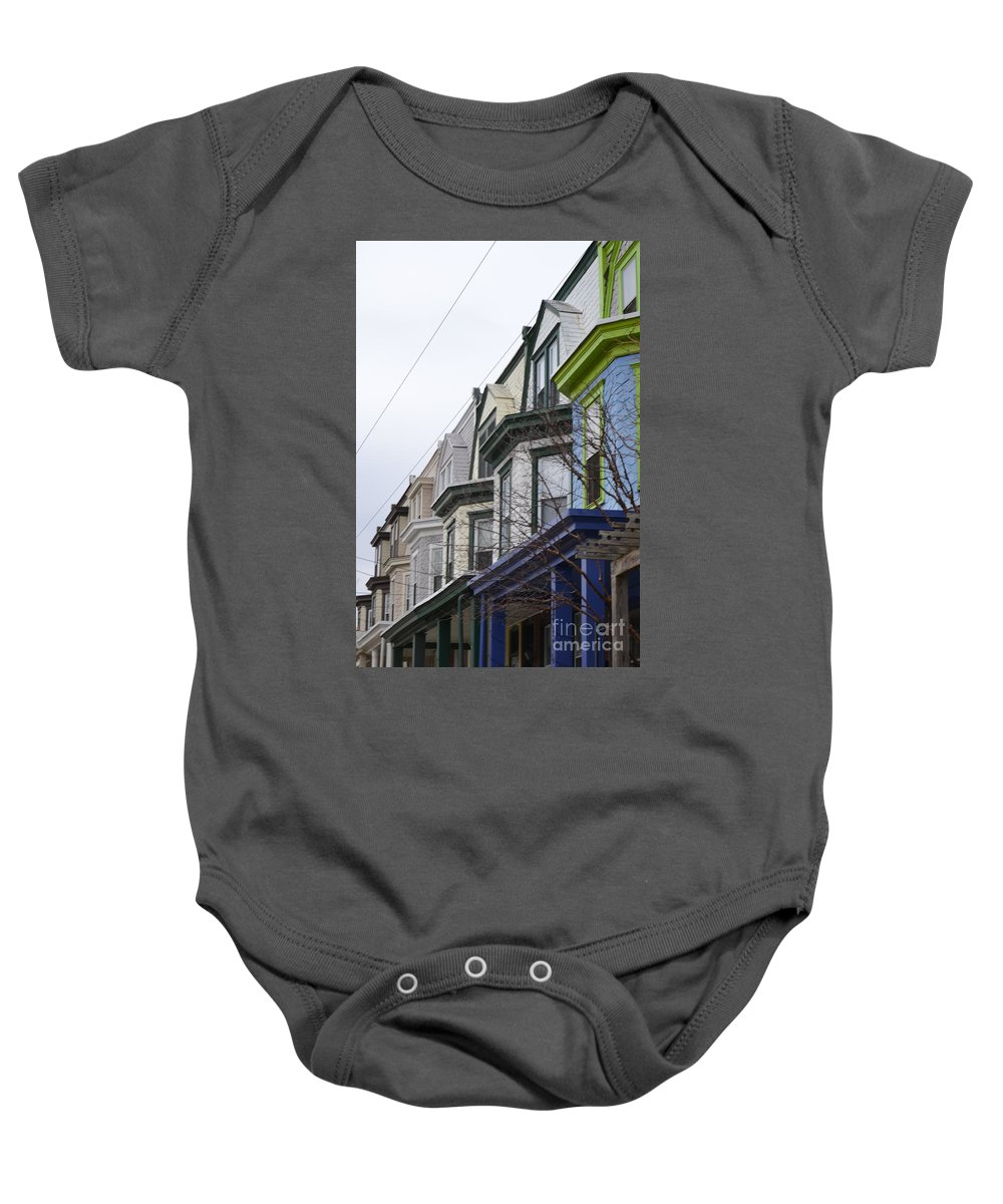 Wilmington Baby Onesie featuring the photograph Wilmington Houses by Heather Jane