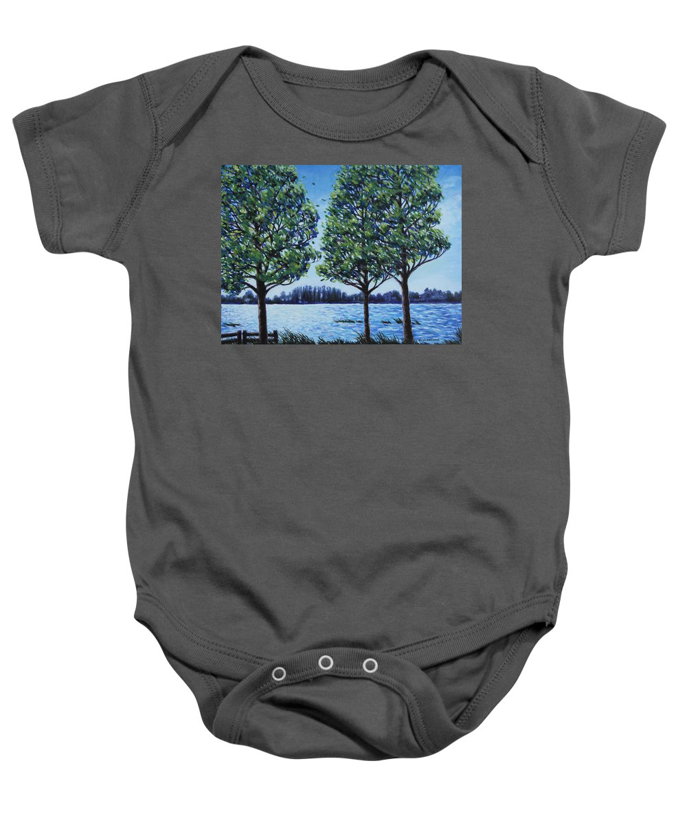 Lake Baby Onesie featuring the painting Wind In The Trees by Penny Birch-Williams