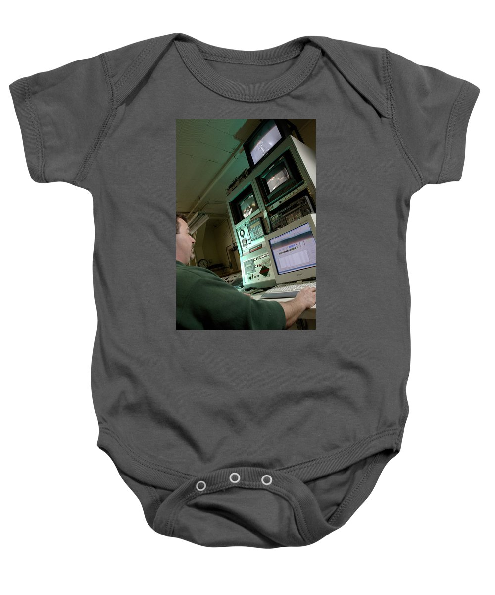 Technology Baby Onesie featuring the photograph Wind Tunnel Control Room by Science Source