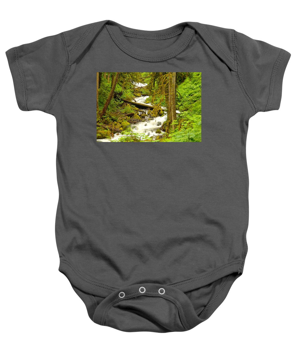Water Baby Onesie featuring the photograph Winding Through The Forest by Jeff Swan