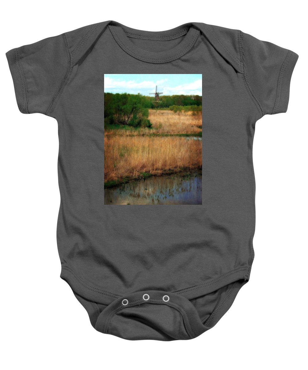 Windmill Island Baby Onesie featuring the photograph Window On The Waterfront Dezwaan Windmill by Michelle Calkins