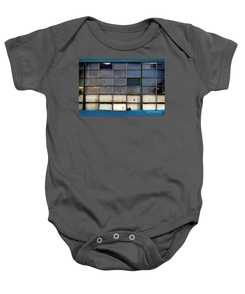 Building Baby Onesie featuring the photograph Windows In Blue Building 2 by Karen Adams
