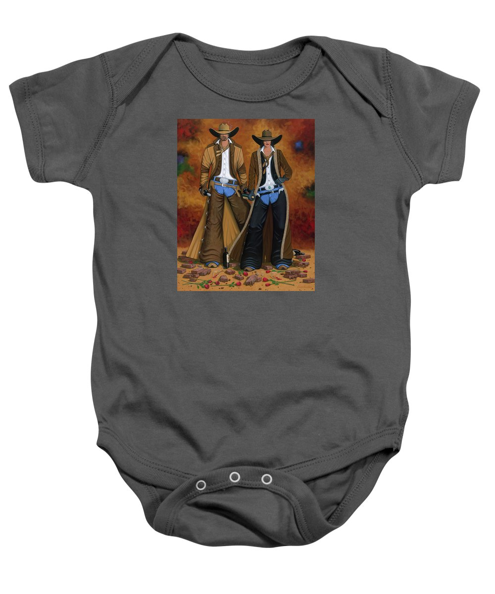 Cowgirl Baby Onesie featuring the painting Wine And Roses by Lance Headlee