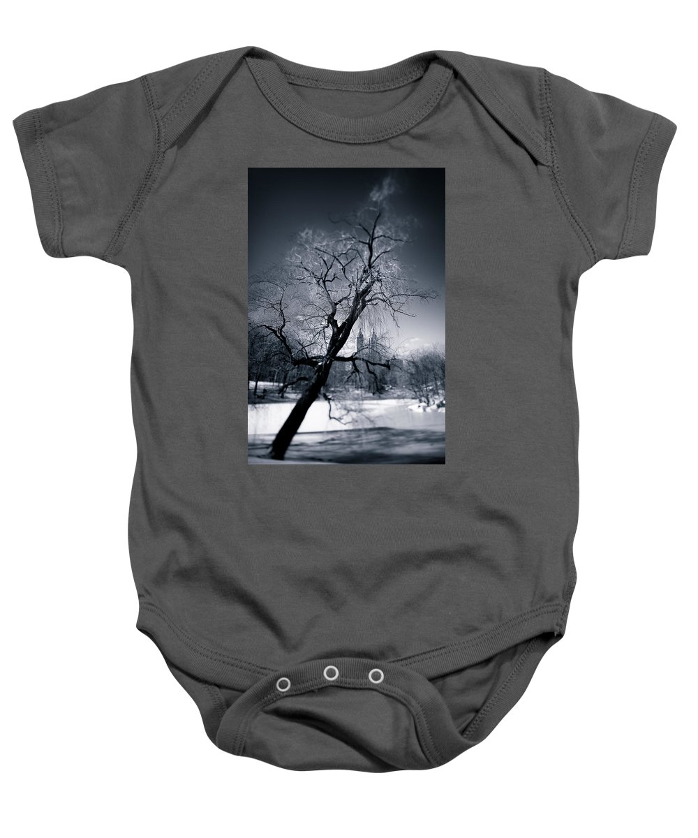 New York Baby Onesie featuring the photograph Winter In Central Park by Dave Bowman
