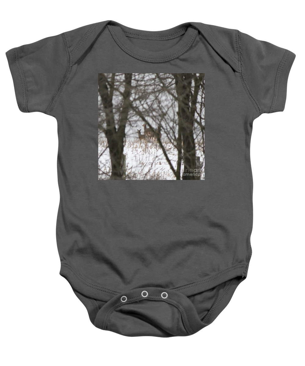 Deer Family Baby Onesie featuring the photograph Winter Family Pause by Neal Eslinger