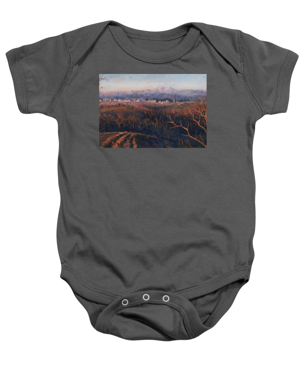 Sunset Baby Onesie featuring the painting Winter Sunset In Brianza by Marco Busoni