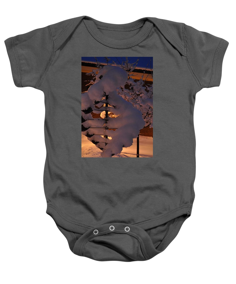 Sculpture Baby Onesie featuring the photograph Winter Whirligig by Jim Brage