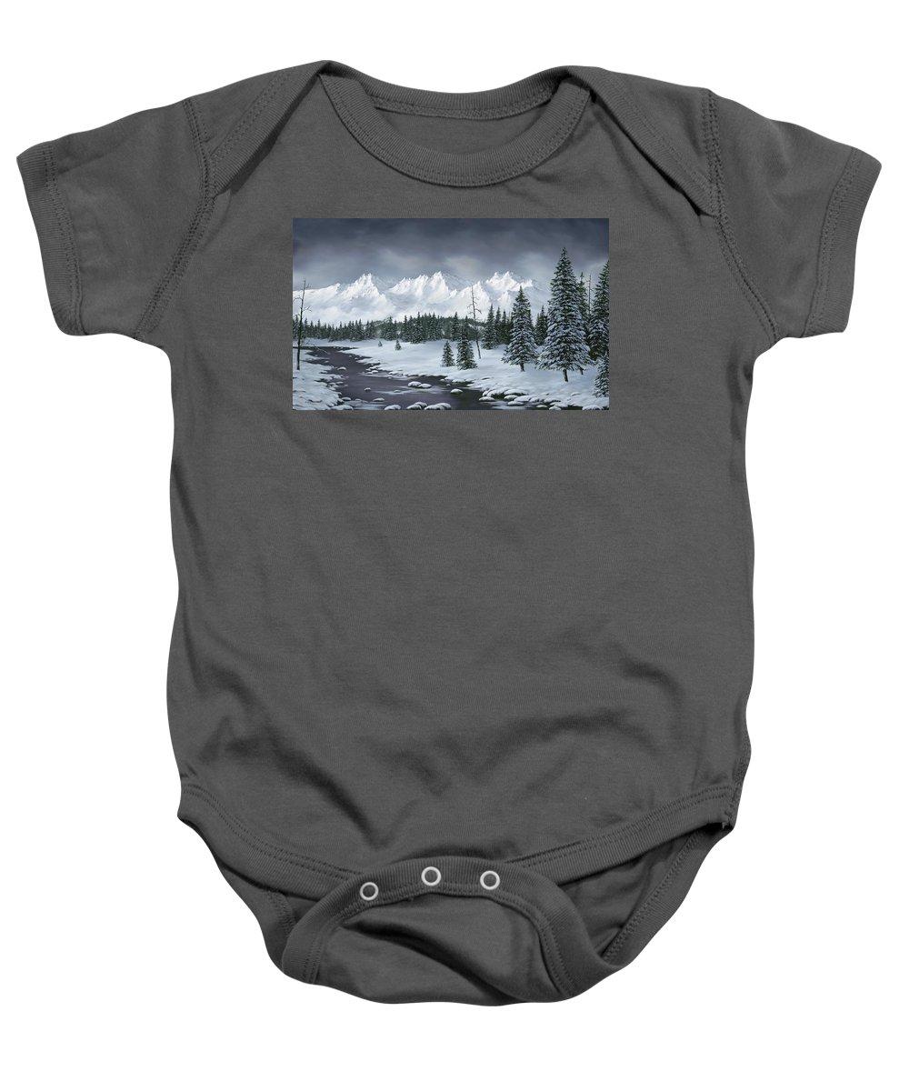 Landscapes Baby Onesie featuring the painting Winter Wonderland by Rick Bainbridge