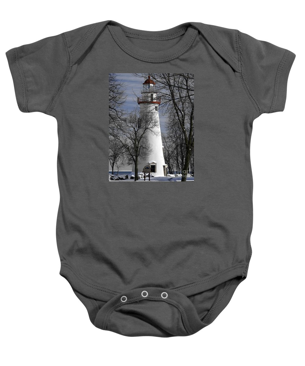 Lighthouse Baby Onesie featuring the photograph Wintry Lighthouse by Melissa McDole