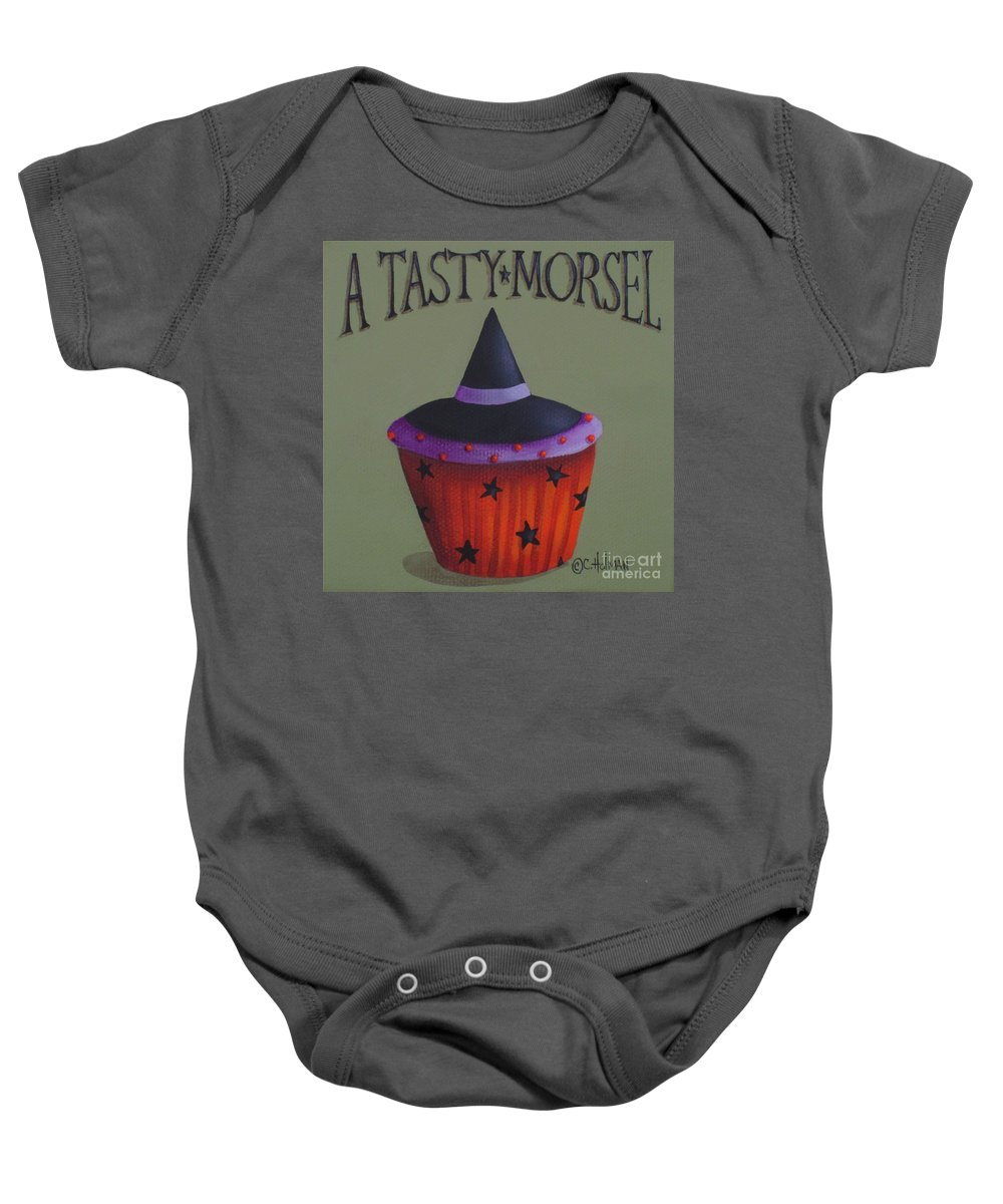 Art Baby Onesie featuring the painting Witches Hat Tasty Morsel Cupcake by Catherine Holman