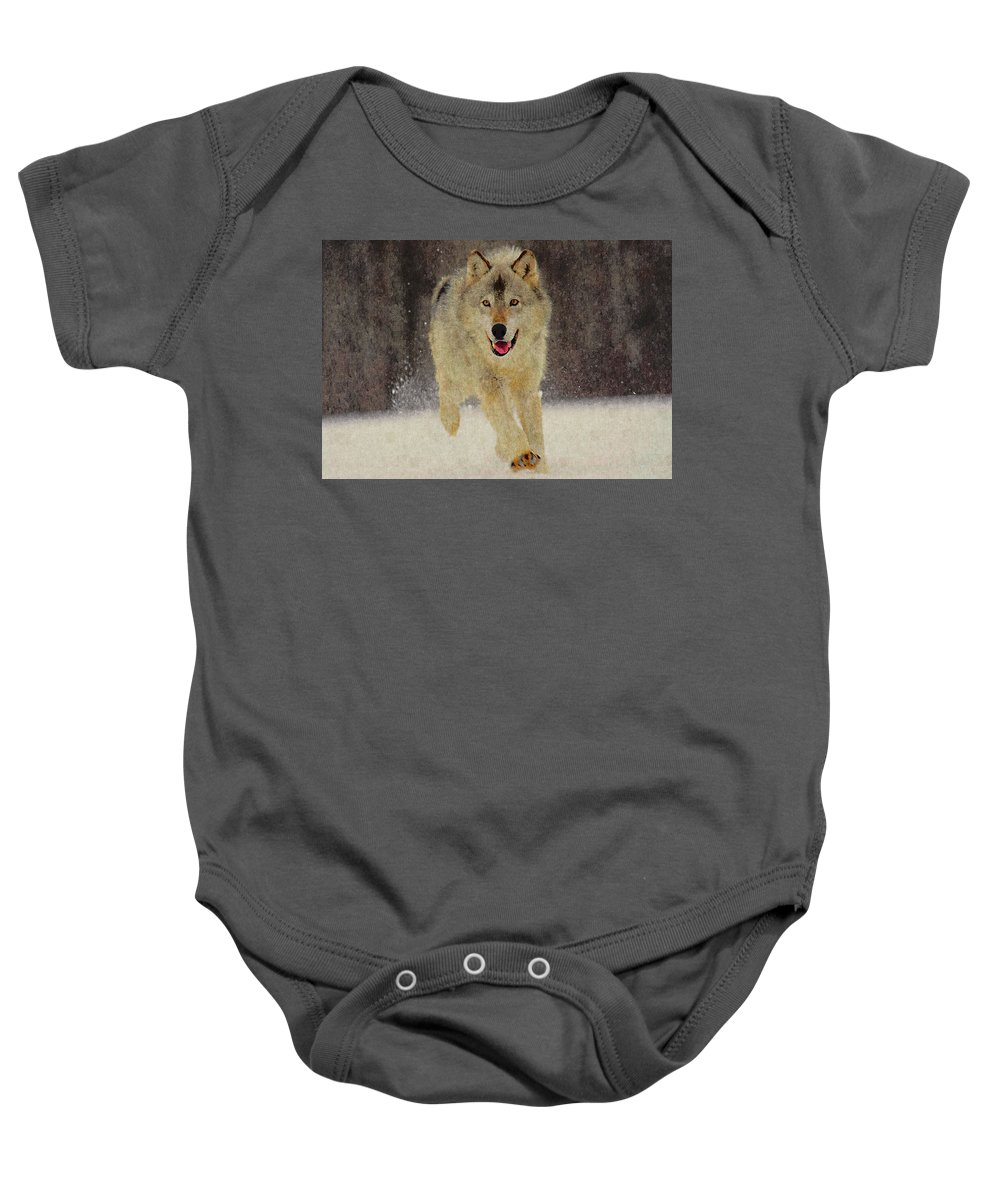 Wolf Baby Onesie featuring the photograph Wolf 1 by Ingrid Smith-Johnsen