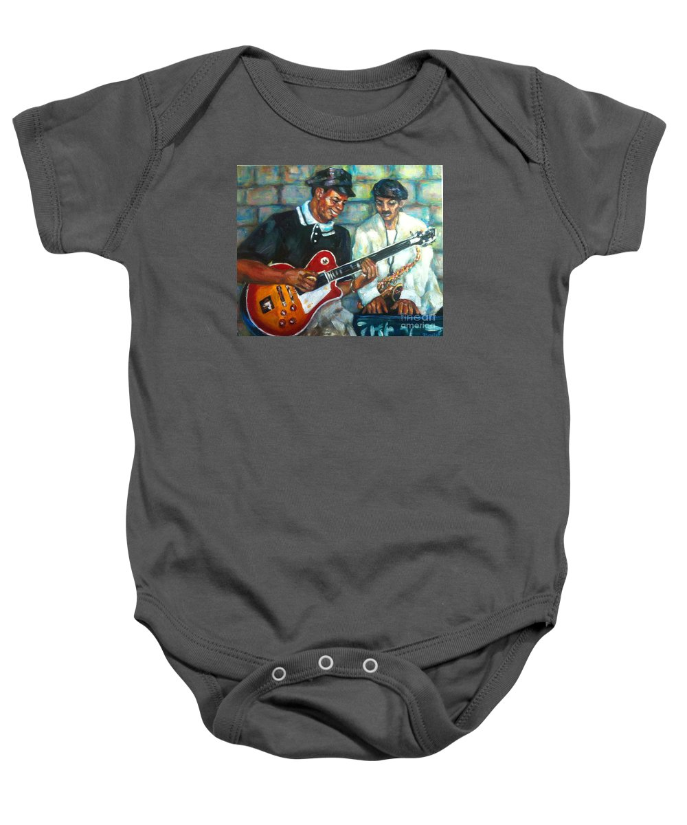 Guitar Baby Onesie featuring the painting Wolfman by Beverly Boulet