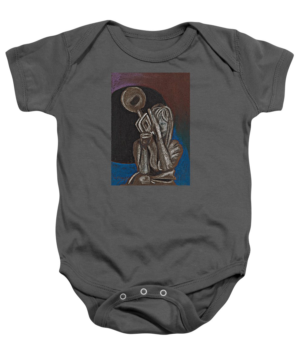 Trumpet Baby Onesie featuring the painting Woman With Trumpet by Tom Conway