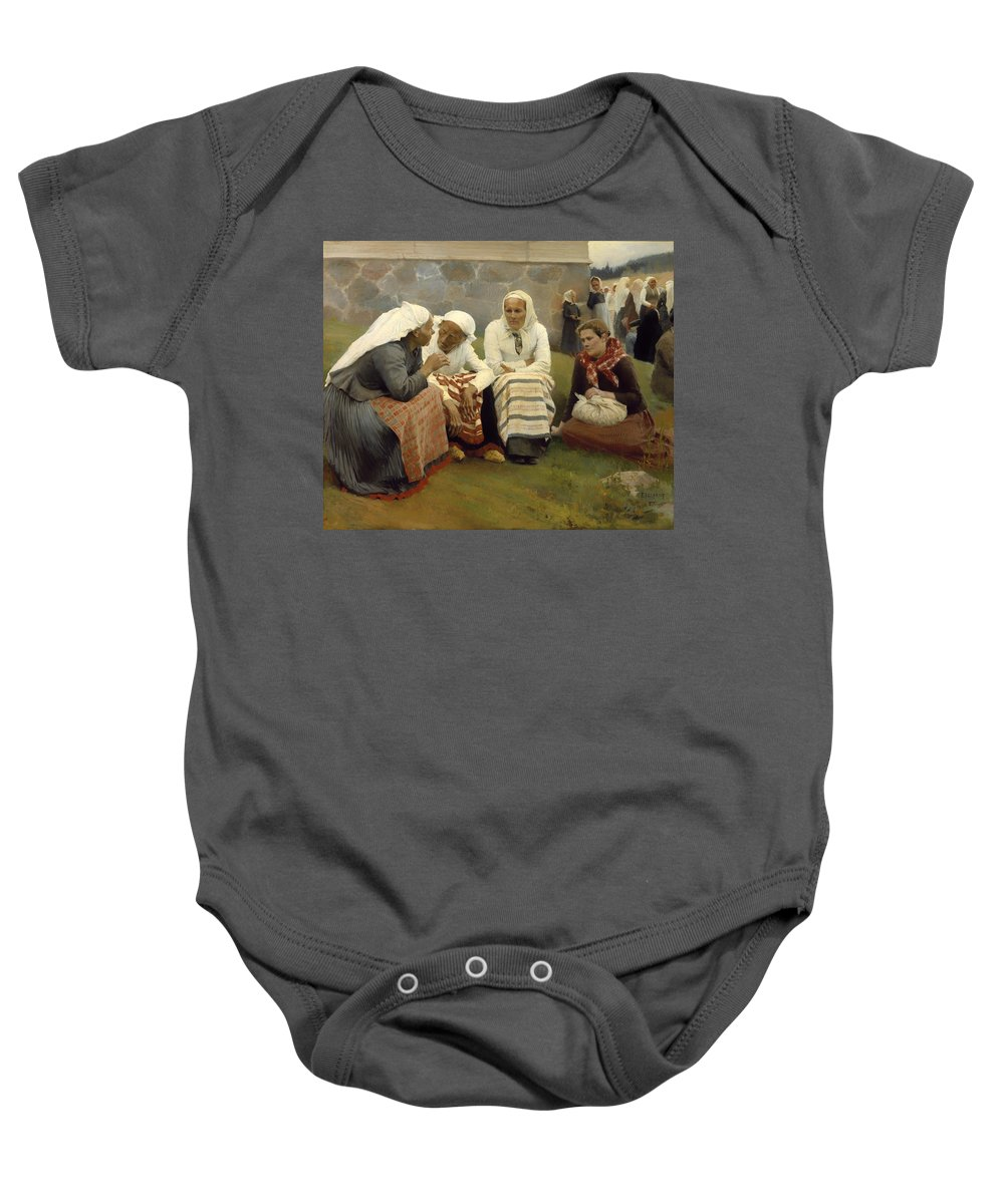 Painting Baby Onesie featuring the painting Women Outside The Church - Finland by Mountain Dreams
