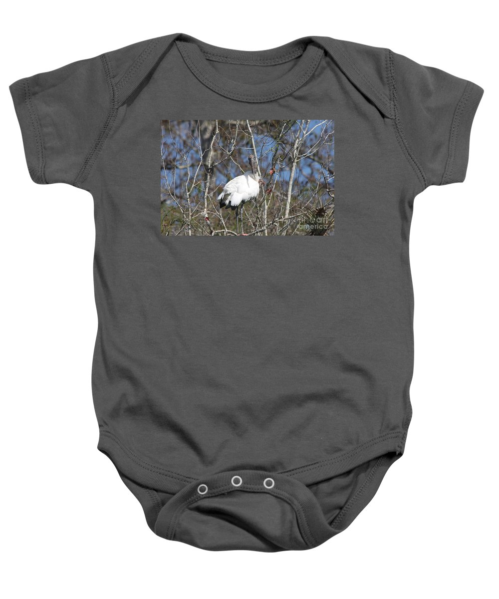 Wood Stork Baby Onesie featuring the photograph Wood Stork In A Tree by Christiane Schulze Art And Photography