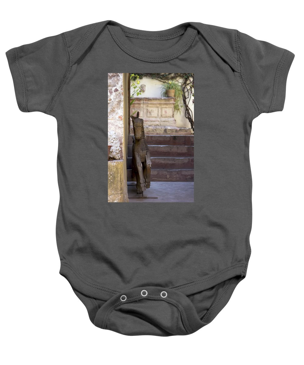 Doorway Baby Onesie featuring the photograph Wooden Horses by Cathy Anderson
