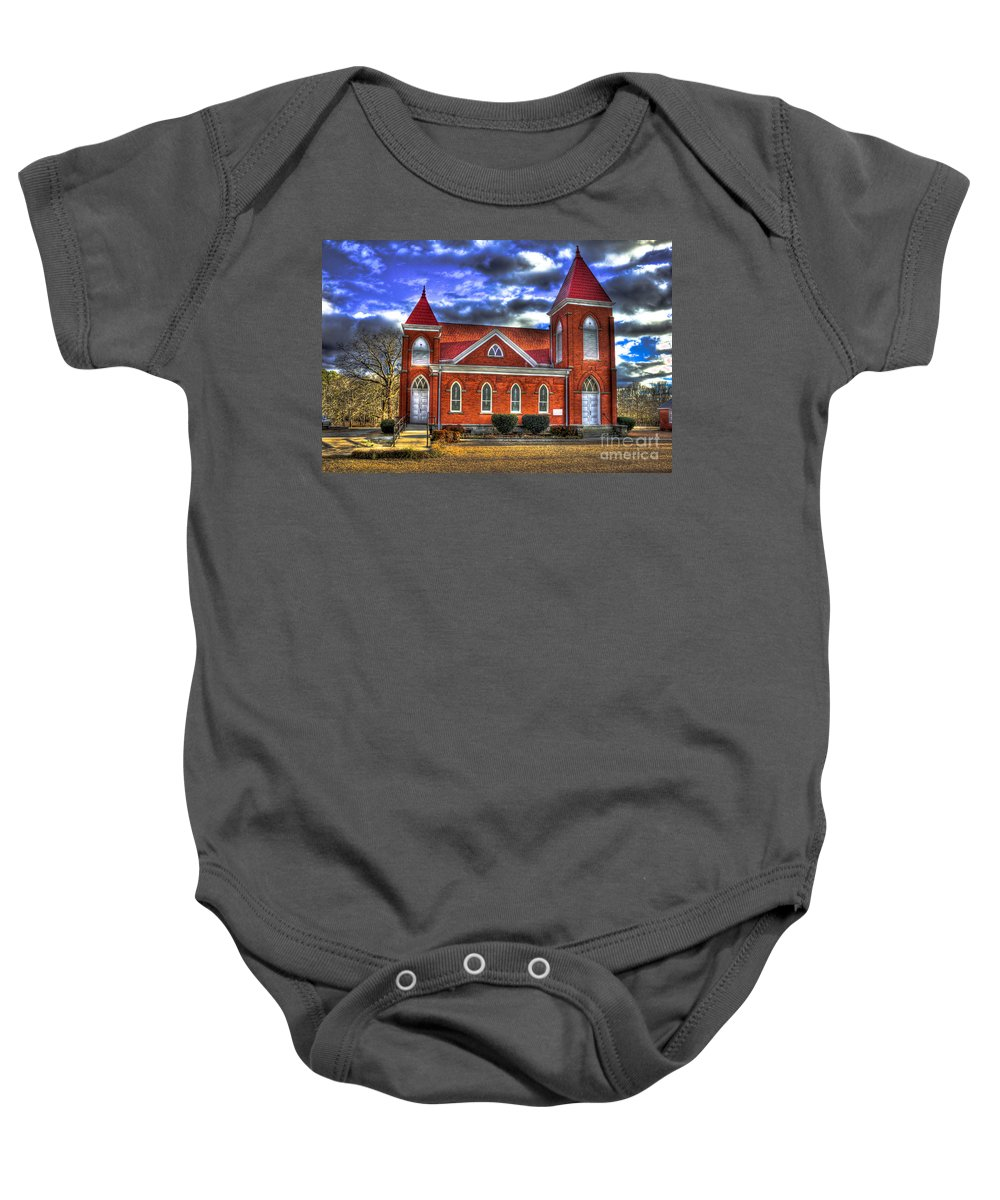 Reid Callaway Baby Onesie featuring the photograph Woodville Baptist Church 2 by Reid Callaway