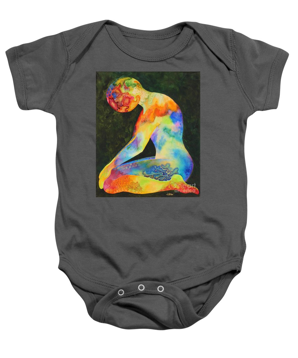 Abstract Baby Onesie featuring the painting Wait by Shannan Peters