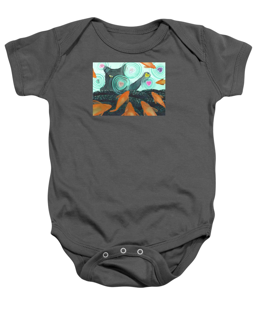 Cat Baby Onesie featuring the painting XOX by Catherine G McElroy