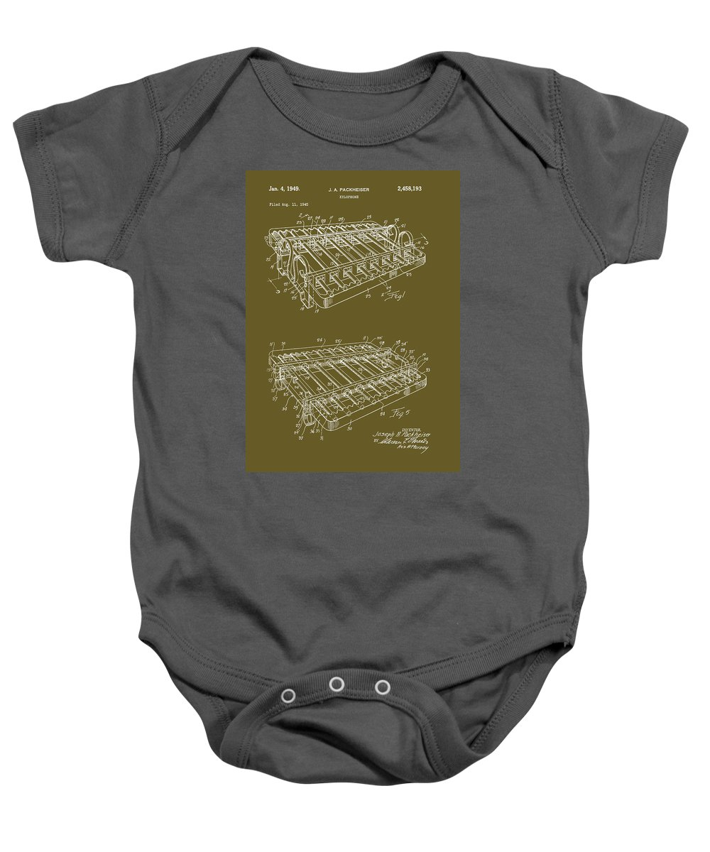 Patent Baby Onesie featuring the drawing Xylophone Patent 1949 by Mountain Dreams
