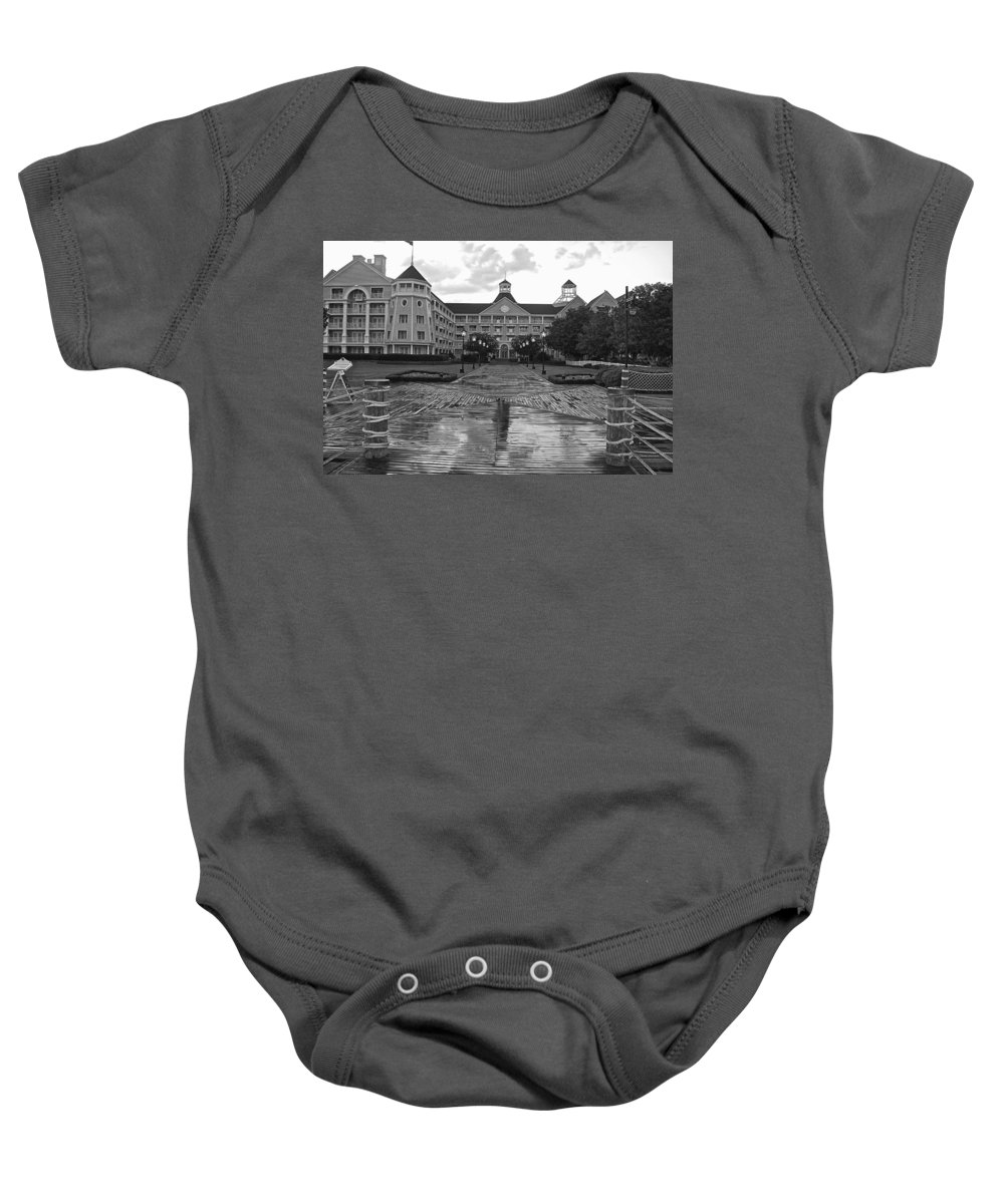 Black And White Baby Onesie featuring the photograph Yacht And Beach Club In Black And White Walt Disney World by Thomas Woolworth