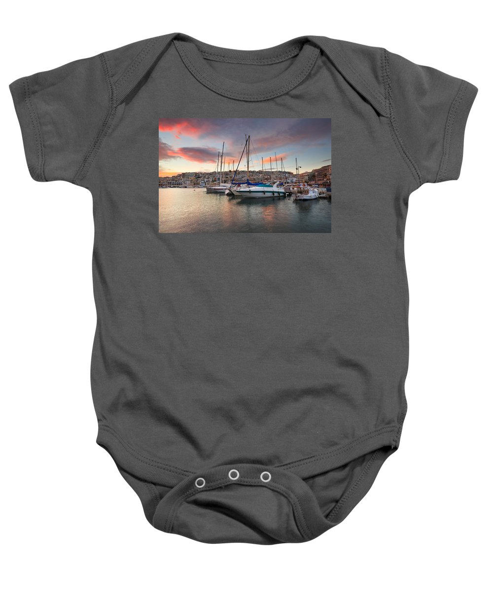 Greece Baby Onesie featuring the photograph yachts in Mikrolimano marina by Milan Gonda