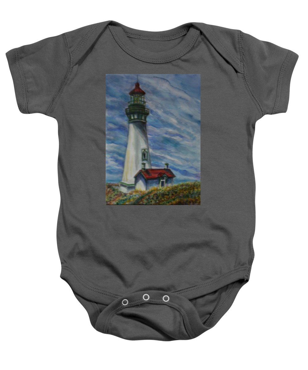 Quin Sweetman Baby Onesie featuring the painting Yaquina Head Lighthouse Original Painting by Quin Sweetman