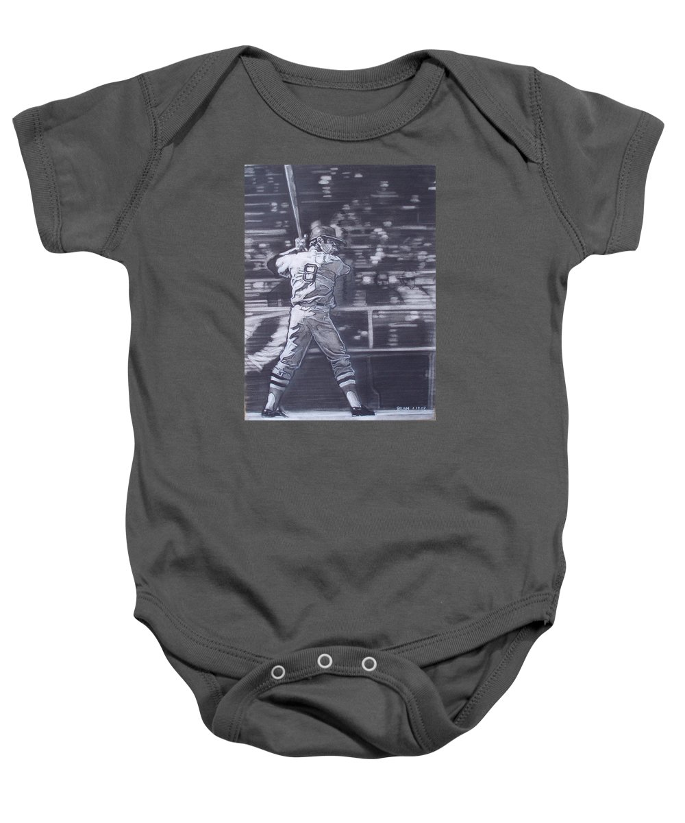 Charcoal Baby Onesie featuring the drawing Yaz - Carl Yastrzemski by Sean Connolly