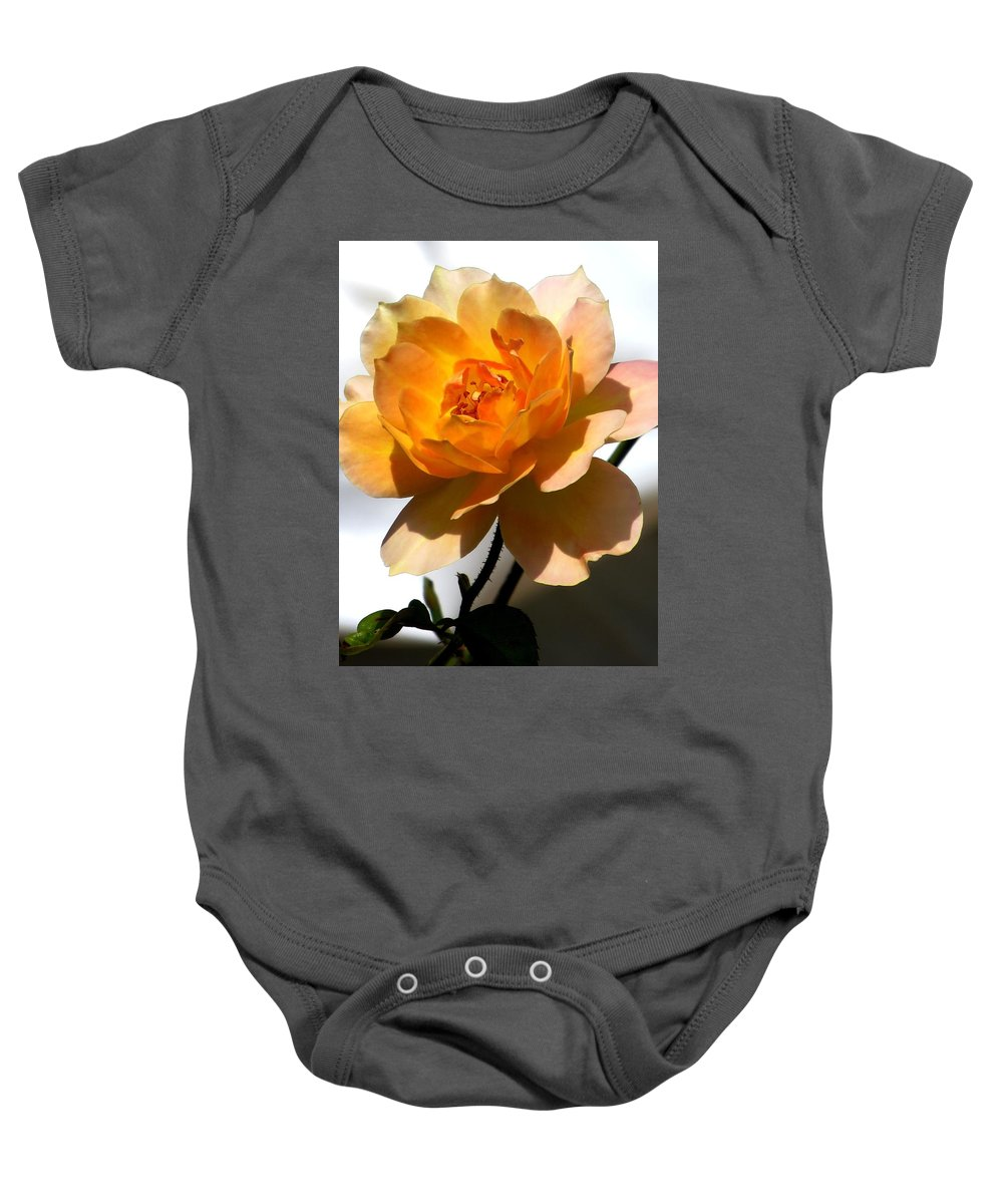 Rose Baby Onesie featuring the photograph Yellow And White Rose by Zina Stromberg