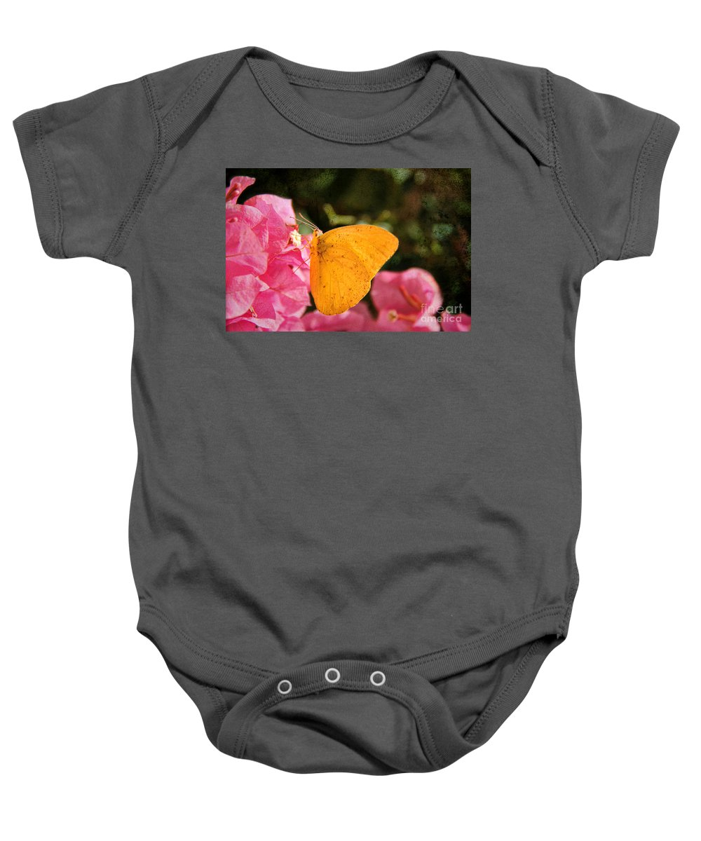Yellow Butterfly Baby Onesie featuring the photograph Yellow Butterfly by Mariola Bitner