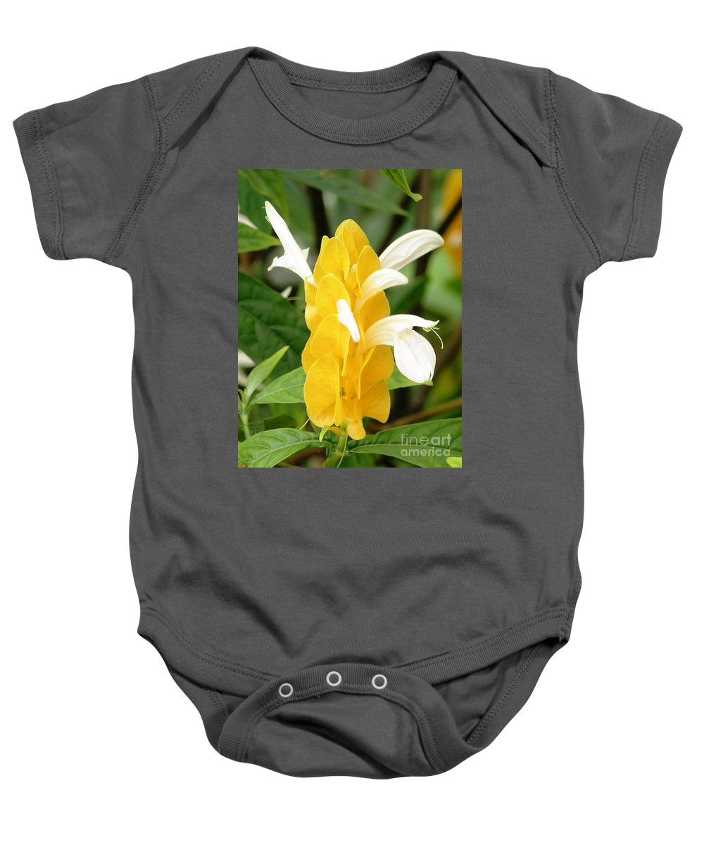 Mary Deal Baby Onesie featuring the photograph Yellow Ginger Blossom by Mary Deal