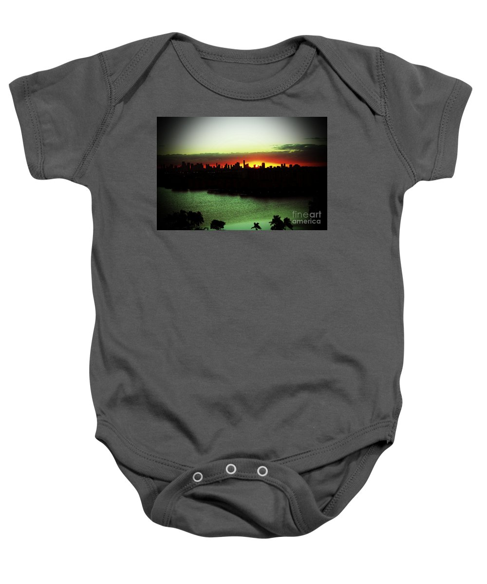 Sunrise Baby Onesie featuring the photograph Yellow Sun by Christiane Schulze Art And Photography