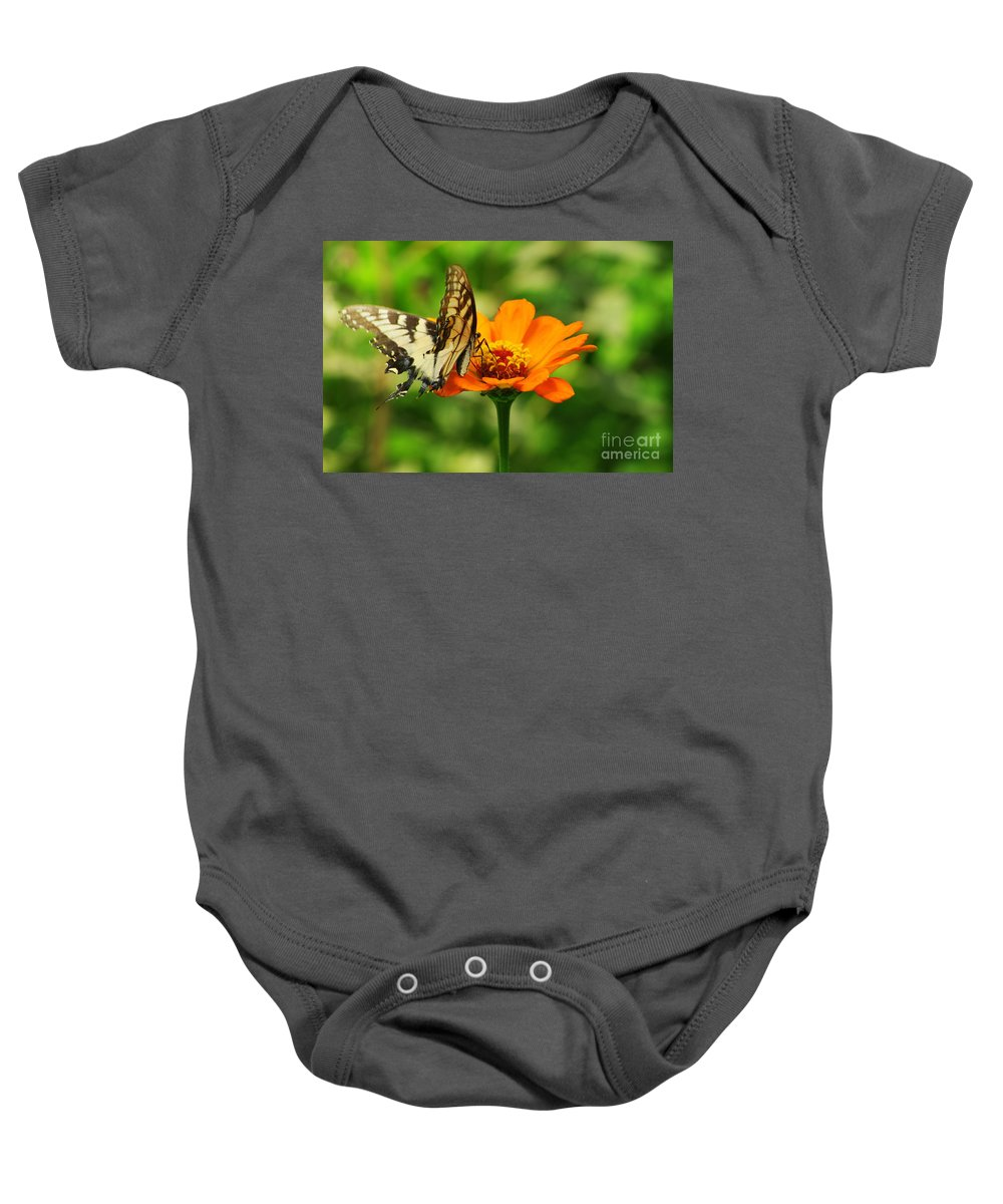 Yellow Swallowtail Butterfly Baby Onesie featuring the photograph Yellow Swallowtail by Kitrina Arbuckle